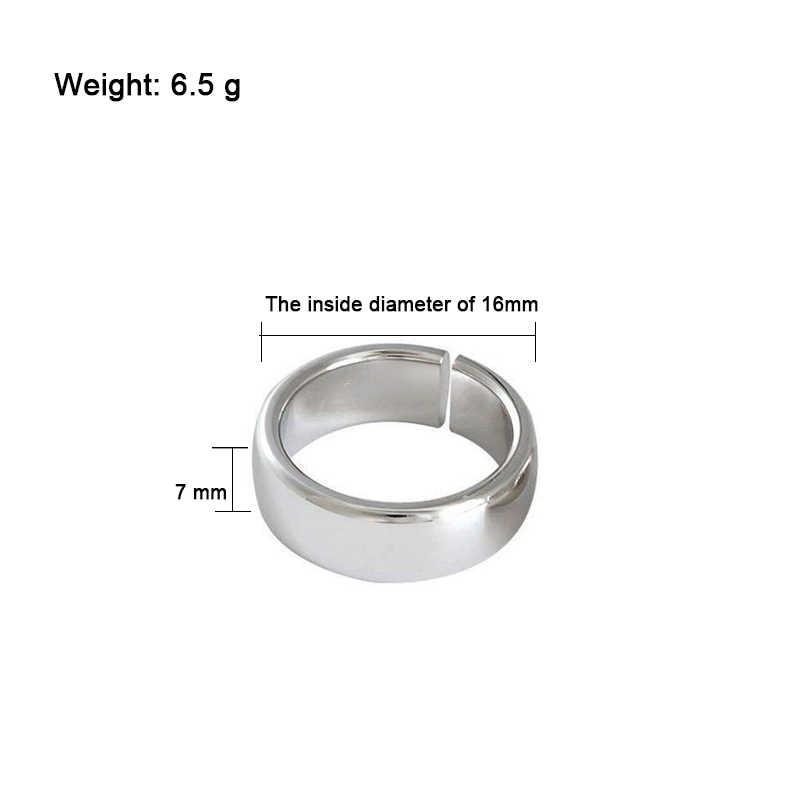 XIYANIKE 925 Sterling Silver Stylish บุคลิกภาพหนารูรับแสงเครื่องประดับหมั้นแหวนคู่แต่งงาน