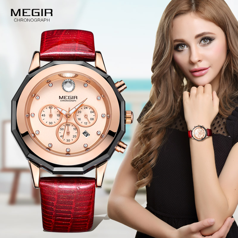 Prix pour Megir de Femmes heures Chronographe Rouge Bracelet En Cuir Montres À Quartz avec des Aiguilles Lumineuses Montre-Bracelet Étanche pour Femme Date 2042