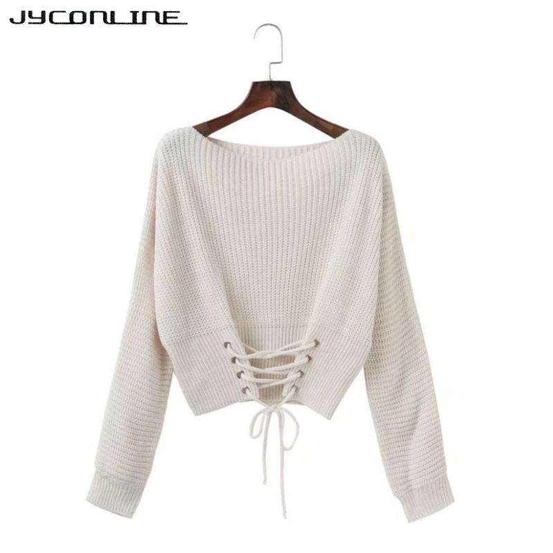 2caf2ca977 JYConline Autumn Lace Up Sweater Women 2017 Knitted Women Sweaters And Pullovers  Jumper Adjust Waist Bandage Sweater Pull Femme-in Pullovers from Women s ...