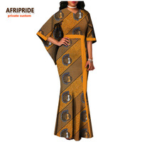 AFRIPRIDE private custom african women clothing cloak sleeves V neck pleated maxi dress for women plus size pure cotton A722553