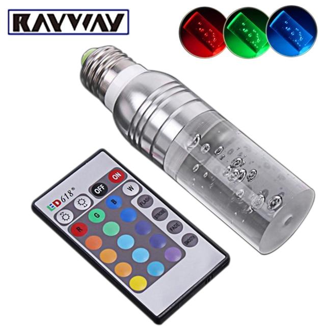 Wonderful Rayway 3w RGB Light Bar E27 E14 AC85 265V LED Light Bulb 16 Colors  Changeable
