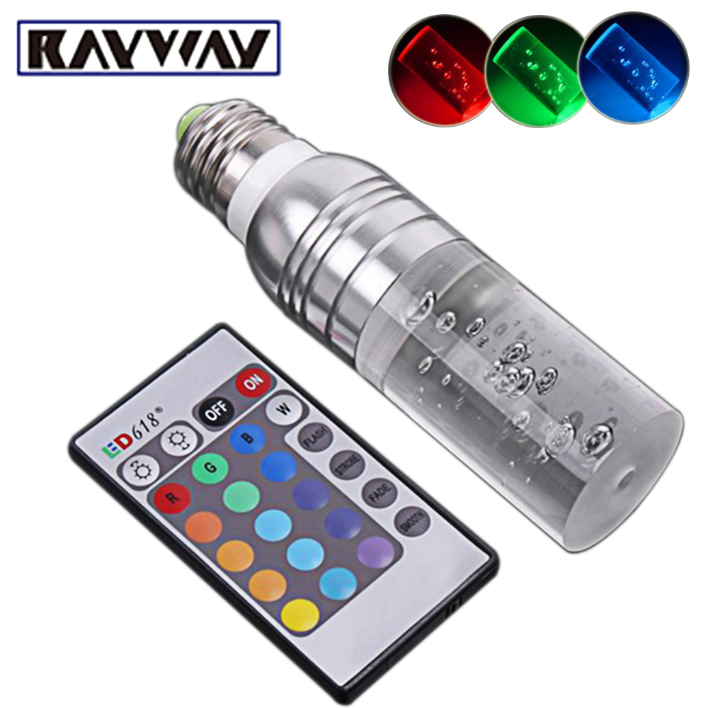 Rayway 3w RGB Light Bar E27 E14 AC85-265V LED Light Bulb 16 Colors Changeable Decorating Lamp + Remote Control Crystal Lamp Bar