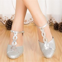 Salsa Dance Shoes For Women 4.5cm 8.5cm Heel Height Silver And Splinter Pu Ballroom Dancing Latin Dance Shoes Ladies JYG827
