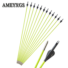 12pcs Spine600 Glassfiber Arrow Rubber Feathers Archery OD:5mm Green Shaft Outdoor hunting Shooting Accessories