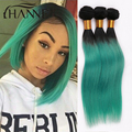 Brazilian Ombre Hair Extensions 1B#green Straight Hair Weave 3pcs Two Tone Straight Brazilian Ombre Straight Human Hair Bundles