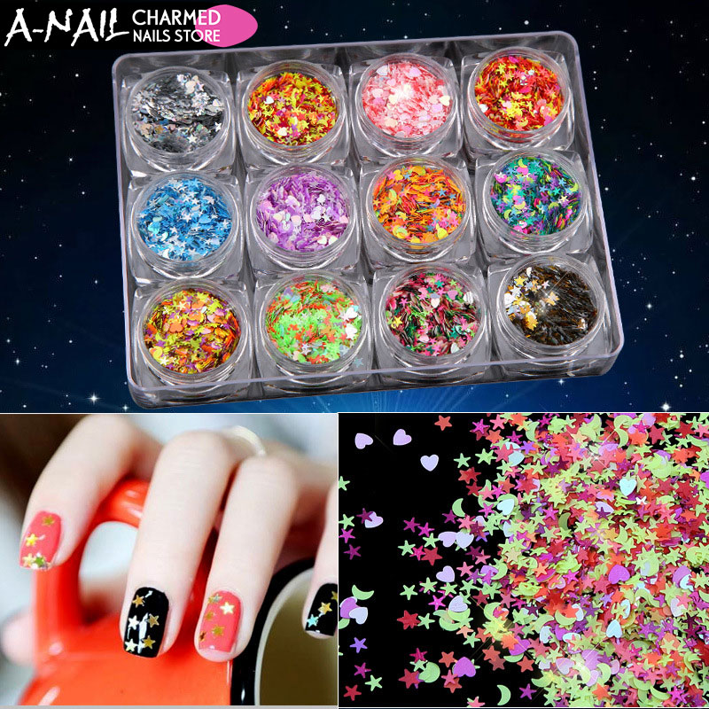 где купить 12boxes/set 3D Shinning Nail Sequin Lucky Star/Moon/Heart DIY Paillette for Nails Tips Face Nail Art Decor 3D Beauty Flakes по лучшей цене