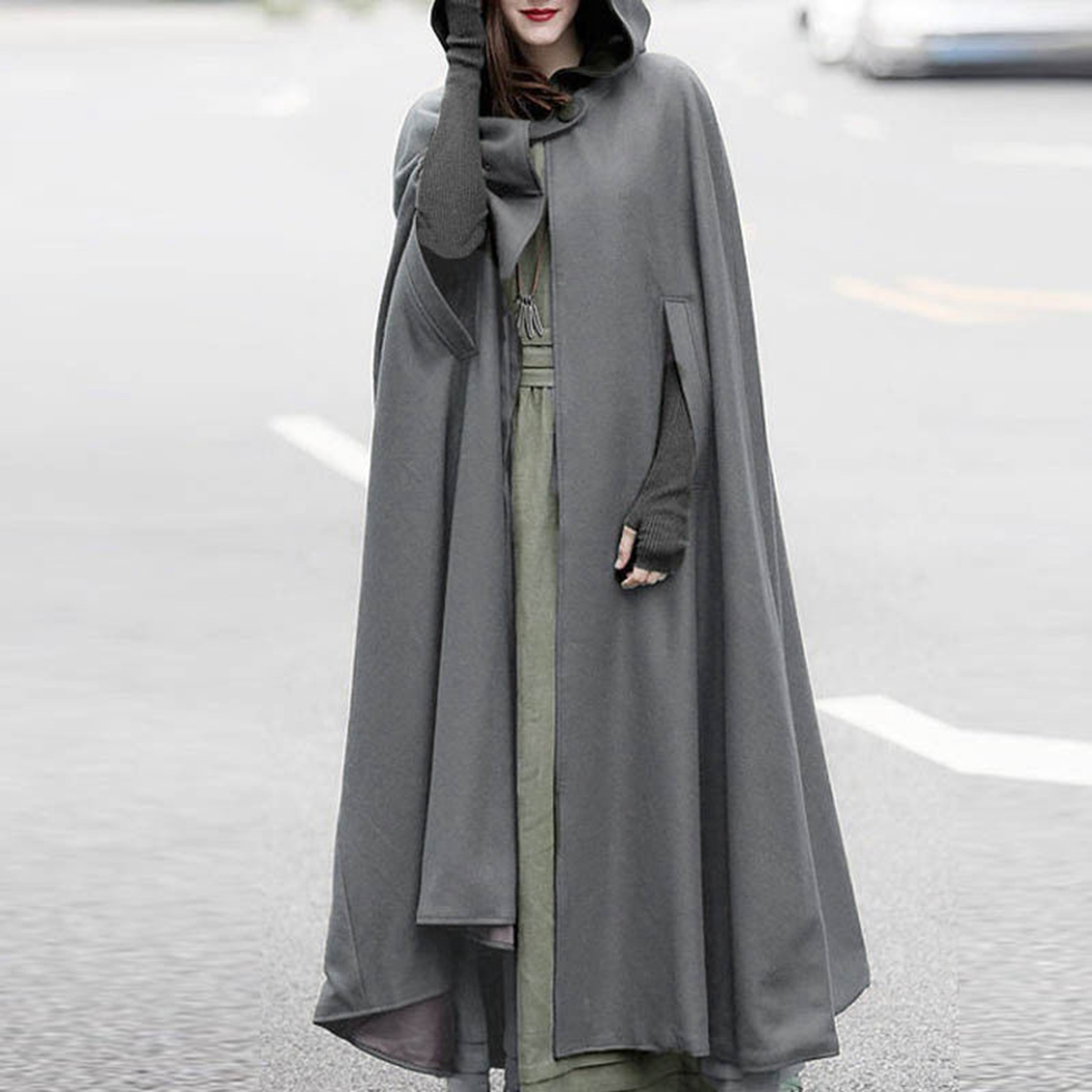 Wool & Blends Jackets & Coats Women Winter Batwing Cape Poncho Cardigan Woolen Coats Casual Loose Overcoat Hooded Collar Long Sleeve Cloak Coat Capes Jacket