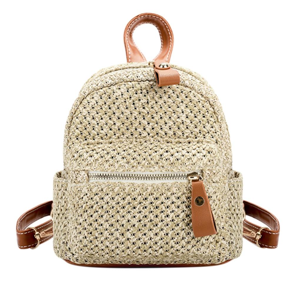 Straw Women Backpack Chain Mini Shoulder Bags Weave Hollow Beach Girls Satchel Schoolbag Fashion Female Small Backpack Rucksack