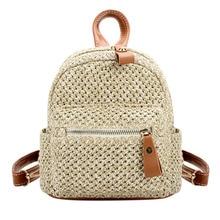 Straw Women Backpack Chain Mini Shoulder Bags Weave Hollow B
