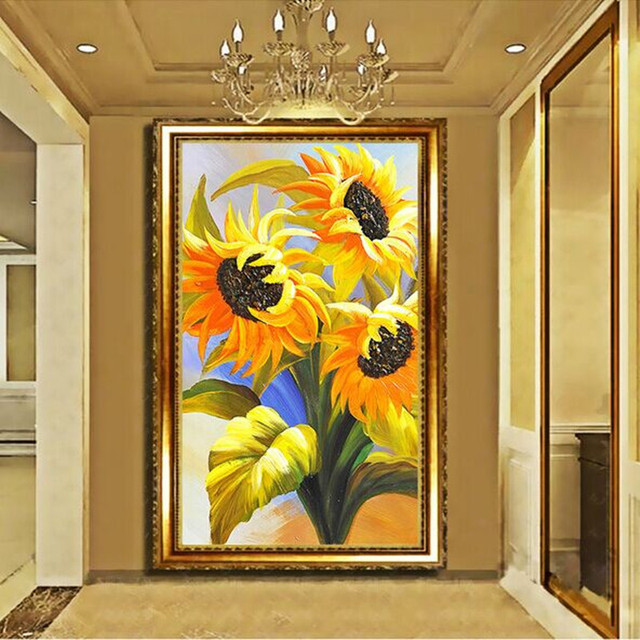 Wonderful Beautiful Sunflower 5d Diy Diamond Painting Kits Round Embroidery Living Room  Decoration Dill Canvas Cross Stitch