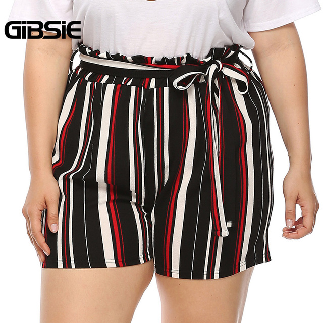 GIBSIE Plus Size New Fashion Bow Striped Shorts Women's Summer High Waist Shorts 2019 Female Casual Straight Shorts with Belt