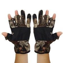 Camo Fishing Gloves Skidproof Half Finger Pack Anti-Slip Fishing Gloves Fishing Equipment 3 Cut Finger Outdoor Hunting Gloves