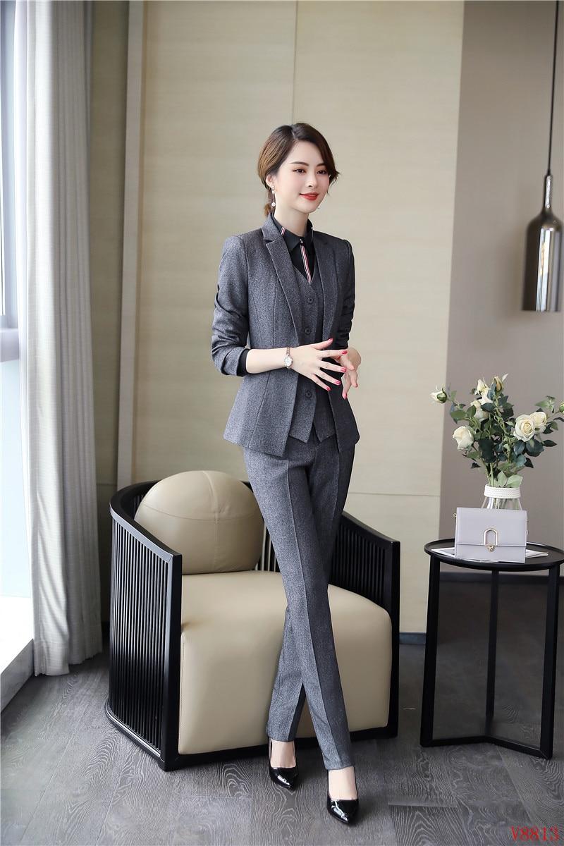 2019 Dames Blazers Nouveau Gilet Pièce Costumes Veste Élégante De Pantalon Blazer D'affaires Femmes Et Formelle Ensembles Gris 3 8dUdfwq
