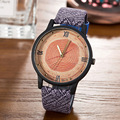 Simulación De Madera Relojes de Cuarzo de las mujeres Relojes Casual Correa de Cuero de Color negro de Madera Reloj de Hombre Reloj Relogio masculino