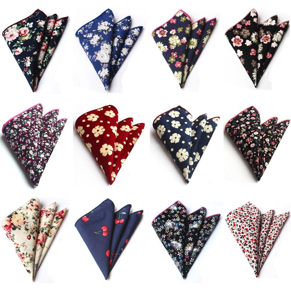 Men Cotton Colorful Flowers Floral Paisley Hanky Pocket Square Handkerchief BWTHZ0223