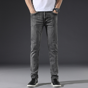 Image 2 - Classic Mens Dark Grey Jeans 2020 New Pants Fashion Casual Cotton Elastic Slim Fit Brand Trousers Male