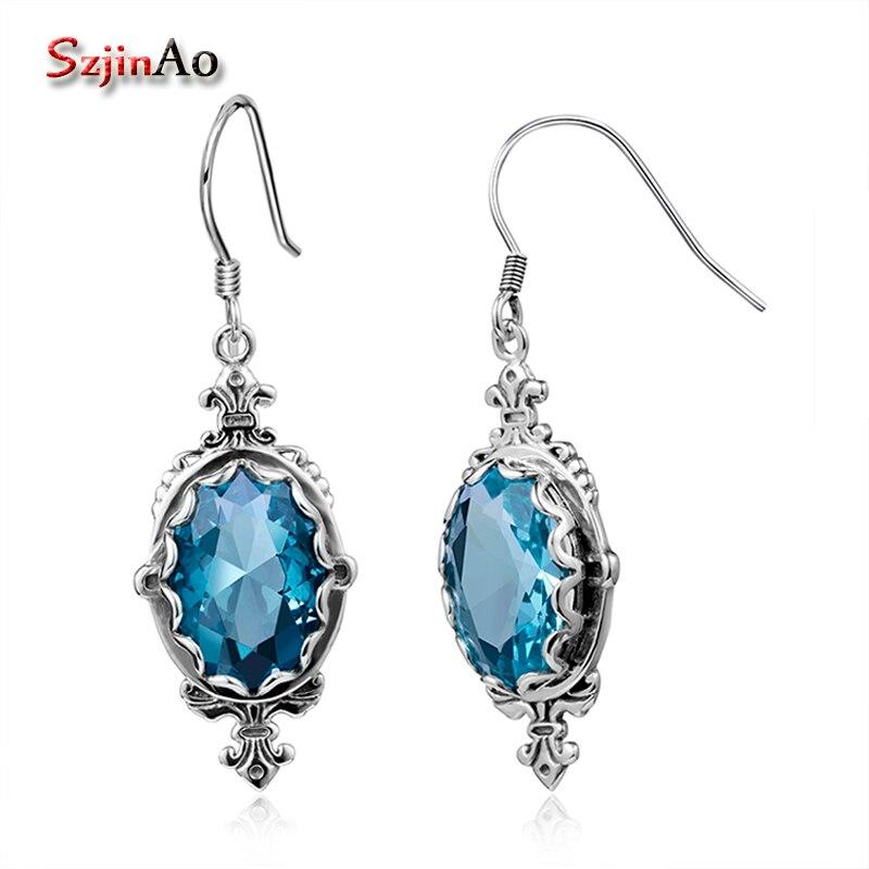 Szjinao Luxury Long Oorbellen Sailor Moon 925 Sterling Silver Tassel Earrings for Women Oval Blue Crystal