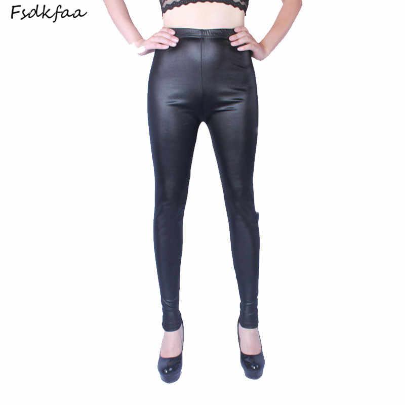 FSDKFAA 2018 Neue Stil Hohe Qualität Frauen Leggings Elastische Dicken Faux Leder Plus Große Größe XL-XXXXXL frauen Hosen
