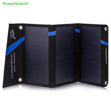 PowerGreen Mobile Solar Charger Panel 21 Watts Carabiner Design Folding Double Output Solar Power Bank for Xiaomi for LG