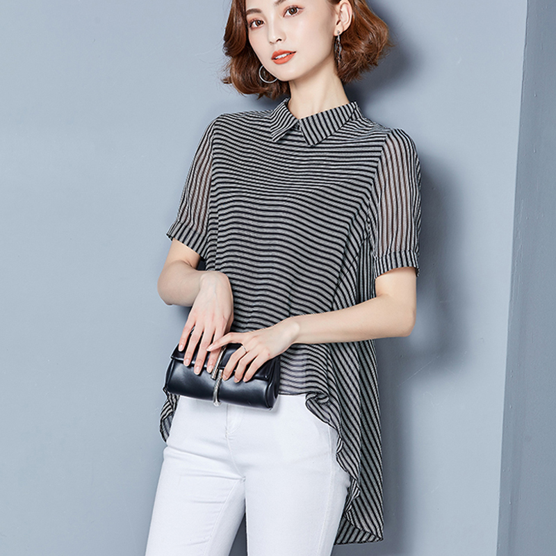 ac415ce91e4f HziriP Women Shirt Striped Fashion Tops Large 2017 Summer Blouses Short  Sleeve Office Wear Female Casual Clothing Plus Size-in Blouses   Shirts  from Women s ...