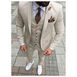 Beige Mens Suits Drie Stuk Jas Broek Vest Custom Slim Fit Mannelijke Blazer Huwelijksbruidegom Smokings