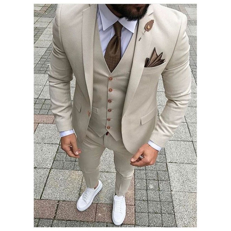 Beige Mens Suits Three Piece Jacket Pants Vest Custom Slim Fit Male Blazer Wedding  Groom Tuxedos