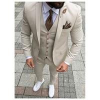 Beige Mens Suits Three Piece Jacket Pants Vest Custom Slim Fit Male Blazer Wedding Groom Tuxedos men suit