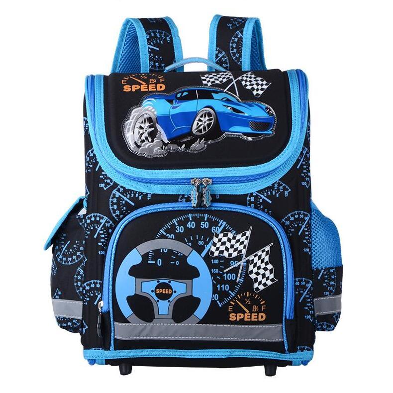 Boys School Bags Childrens Backpack Folded Orthopedic Backpacks Racing Cars Pattern Schoolbag Kids Stachel Mochila Infantil