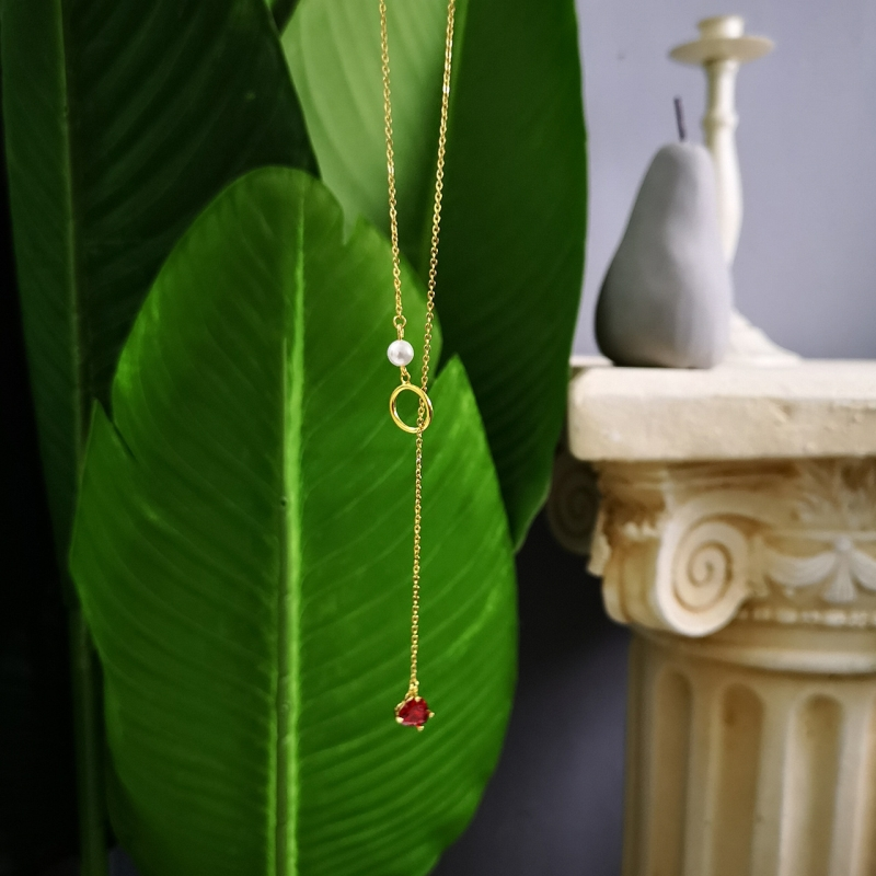 Image 4 - 925 Sterling Silver 18k Gold Necklace for Women With Pearl Y Drop Necklace Heart Drop Pendant Red Ruby CZ Zircon Lariat Necklace-in Necklaces from Jewelry & Accessories