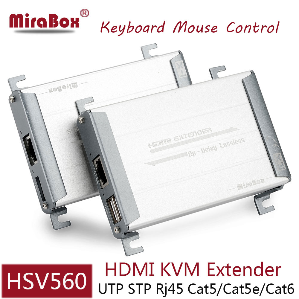 HSV560 HDMI USB Extender with Keyboard Mouse Control 80m HDMI KVM Extender over UTP Cat5/5e/Cat6 Network By Rj45 Ethernet mirabox usb hdmi kvm extender up to 80m over cat5 cat5e cat6 cat6e lan rj45 single cable lossless non delay with mouse control