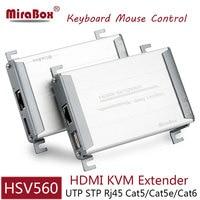 HSV560 hdmi usb kvm الموسع مع التحكم الماوس 80 متر hdmi موسع عبر utp cat5/5e/cat6 شبكة rj45 إيثرنت