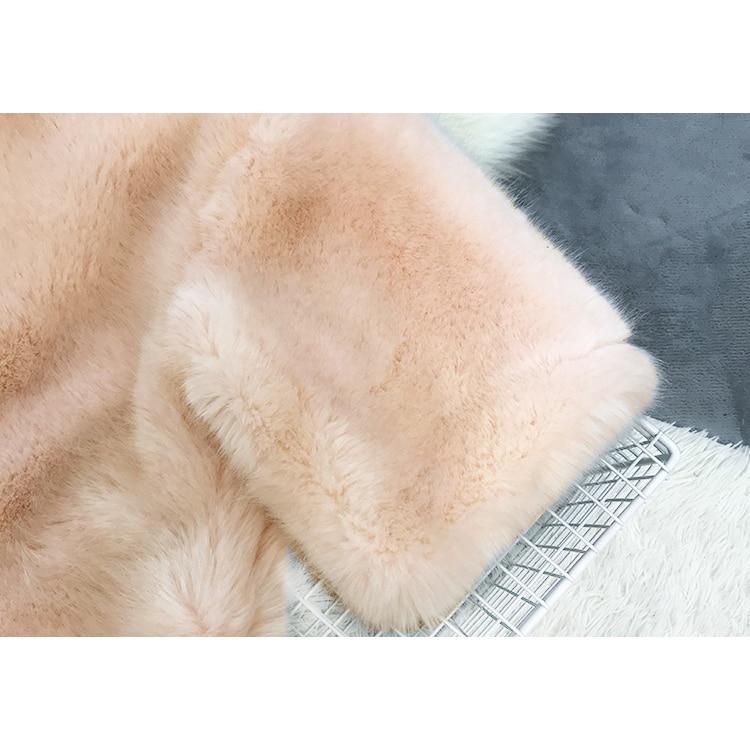Faux Plus Chaud Taille Épaissir 2018 Manteau Bleu Fausse Outerwears Femmes En Automne Femme rose Manteaux Fourrure Lapin Cheveux Streetwear Hiver Zzwqv7zf