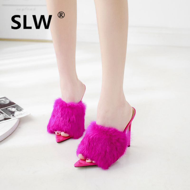 Pointed Toe summer Thin Heels Flock High fur Shallow furry women Sexy TPR Slides Super funny fluffy woman Thin Heels Shallow