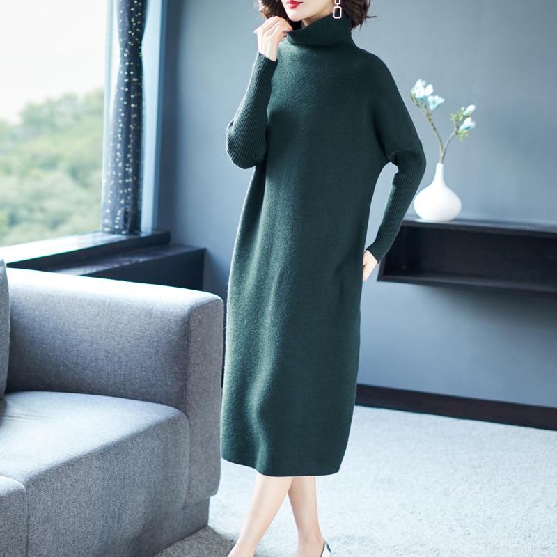 Hiver Chaud Femmes Chandail Manches Robe Midi Casual Nouvelles Longues De Lâche Tricoté À Solide 2018 Mode Couleur Vert Green Col Roulé rwqC1raXx