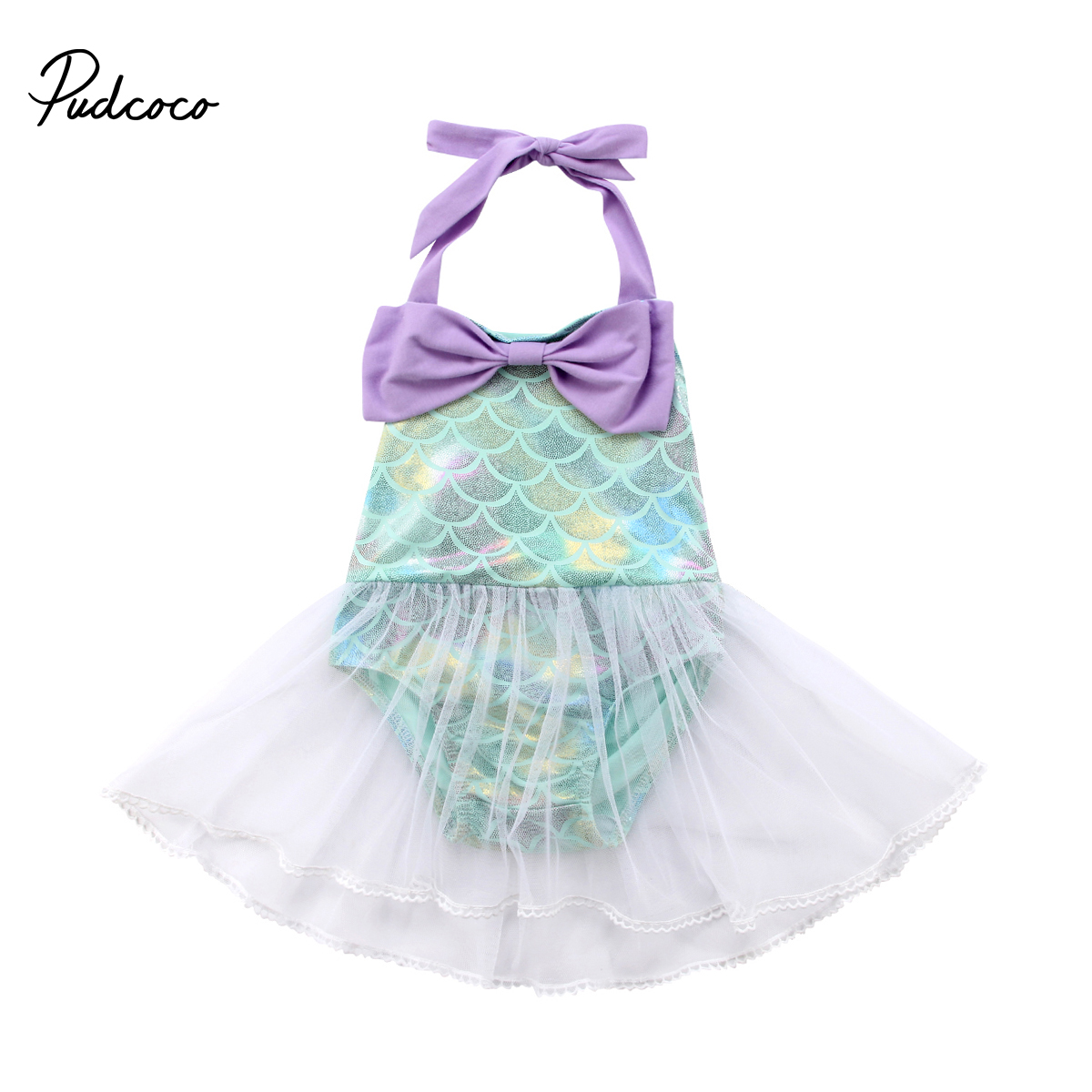 2018 Princess Baby Girl Mermaid   Rompers   Lace Tulle Costume Summer Jumpsuit For Toddler Baby Girl Bowknot Sequins One-pieces