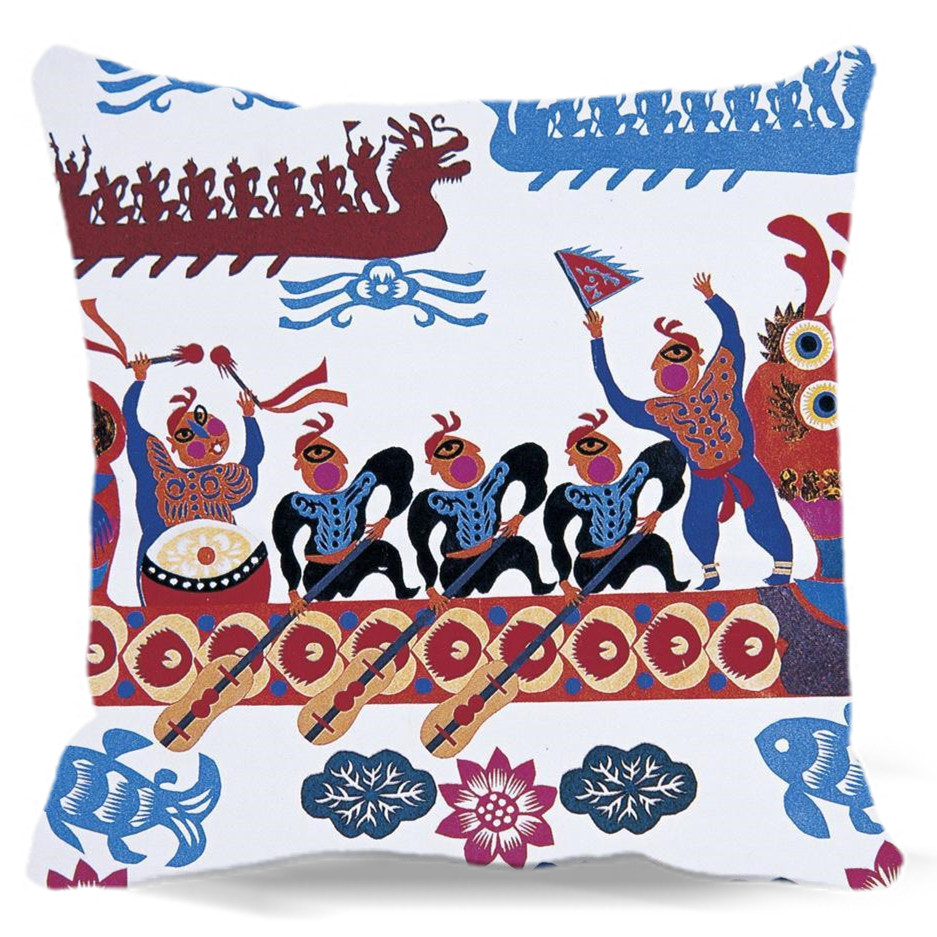 Dragon Boat Race Pattern Square Pillow case cotton polyester For Car Home sofa hotel Decorative