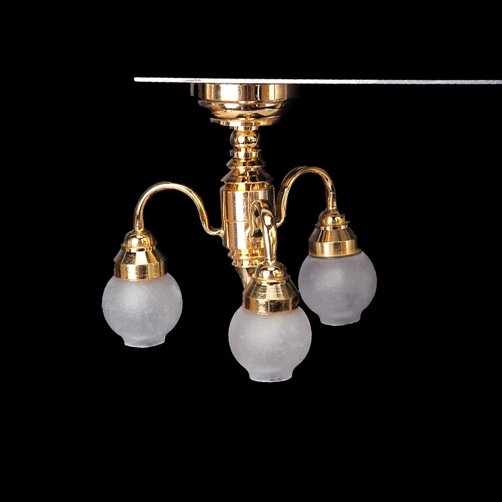 FBIL-1:12 Dollhouse Brass Chandelier 3 arm Lamp LED Ceiling Lamp Glass Shade