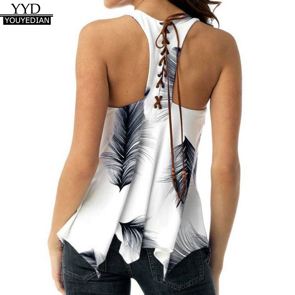 Plus Size 5XL Summer Tank Tops For Women 2019 Streetwear Feather Print Back Lace Up Sleeveless Top Tunic T Shirt Clothes Women(China)
