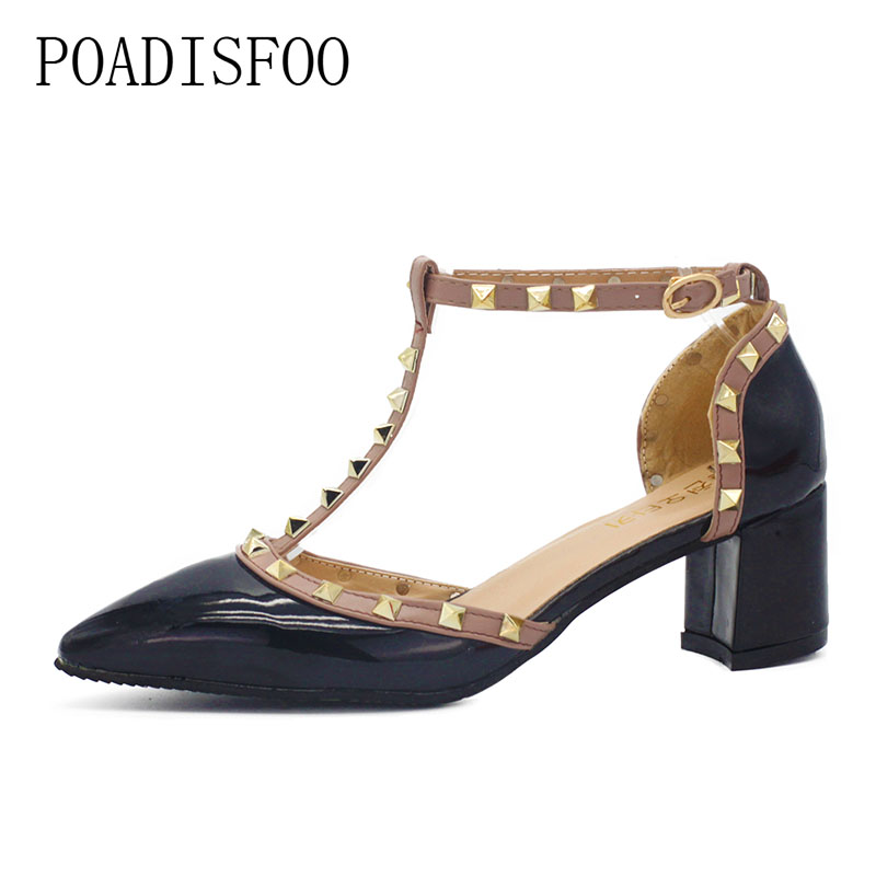 POADISFOO 2017 Fashion Rivets High Heel Thick Square Heel pumps pointed toe shoes Sexy Party Pumps for Women .XXXY-722 women s high heels women pumps sexy bride party square heel square toe rivets high heel shoes