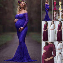 2018 New Summer 3Colors Women Pregnant Maternity Lace Floral Long Dress Maxi Gown Photography Prop Long Sleeve Off Shoulder(China)