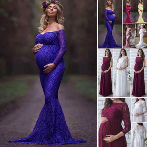 1eeb88c29d65 Detail Feedback Questions about 2018 New Summer 3Colors Women Pregnant  Maternity Lace Floral Long Dress Maxi Gown Photography Prop Long Sleeve Off  Shoulder ...
