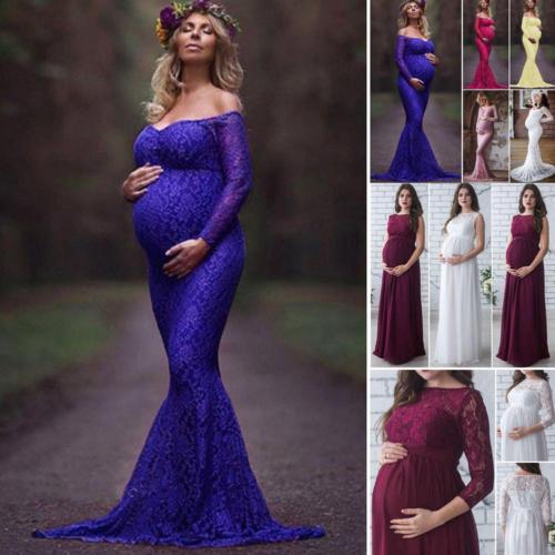 ce1b54db US $7.83 33% OFF|2018 nowy lato 3 kolory kobiety w ciąży macierzyństwo  koronki kwiatowy długa sukienka Maxi suknia fotografia Prop z długim ...