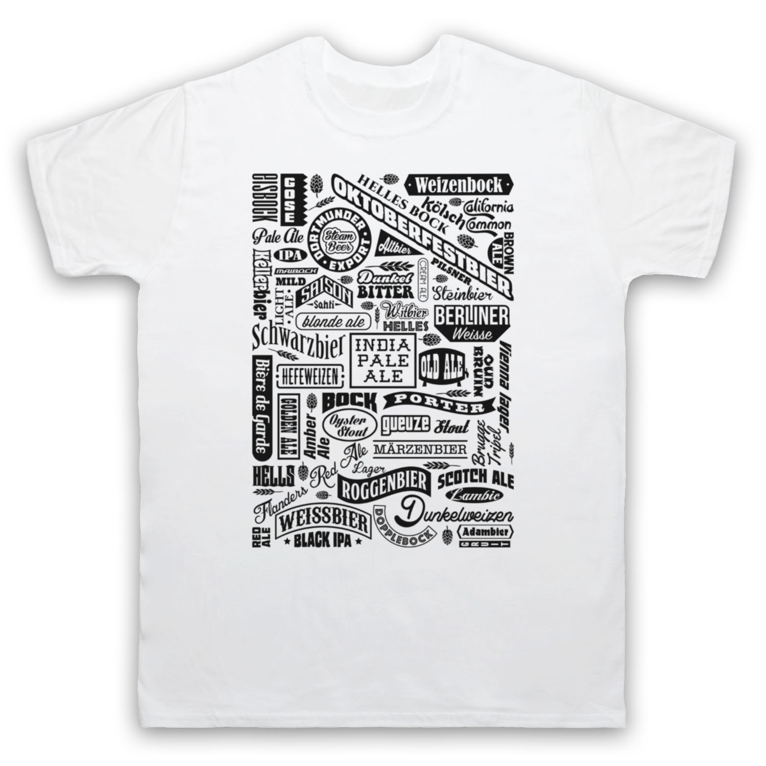 CRAFT BEER TYPES DRINK LOVER TYPOGRAPHY REAL ALE CAMRA MENS WOMENS KIDS T-SHIRT Short Sleeves Cotton T-Shirt Light