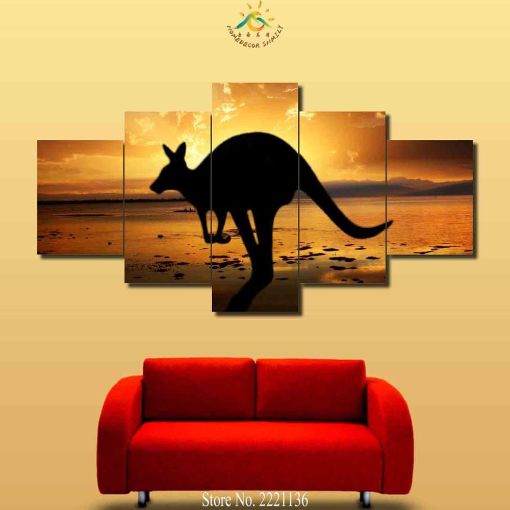 3 4 5 Pieces Sunset Seaside Kangaroo Modern Wall Art Canvas Printed ...