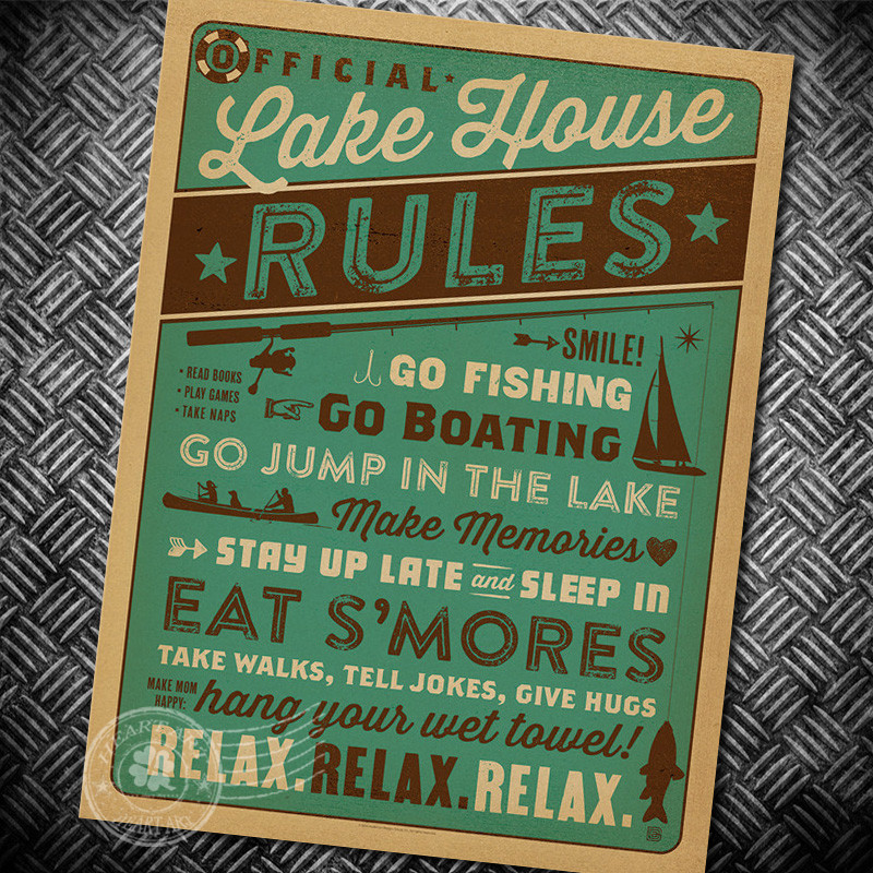reglas de la casa del lago nostalgia carteles de papel kraft de papel artesana vintage posters