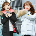 High Quality Girls Thick padded jacket 2016 Winter New Children Long Sections Warm padded Coat Clothing Girls Hooded Outerwear