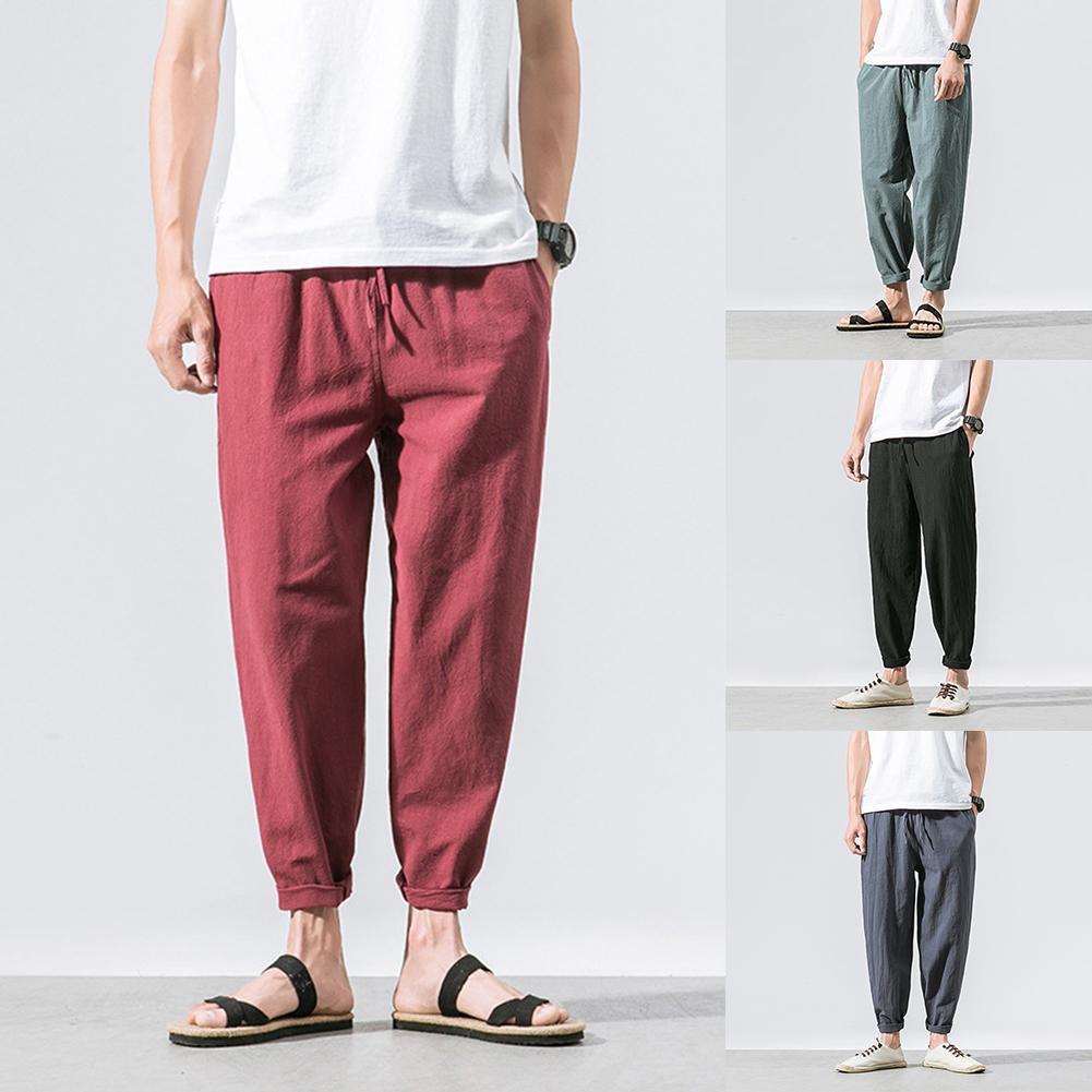 Summer Men Pants Sport Casual Solid Color Cotton Linen Trousers Baggy Ankle Length Cuffs Harem Pants Jogger Sweatpants(China)
