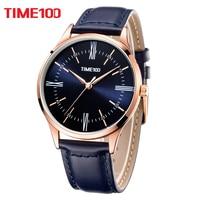 Time100 Men Watches Ultra Thin Black Quartz Watch Business Casual Waterproof Wrist Watch For Men XFCS