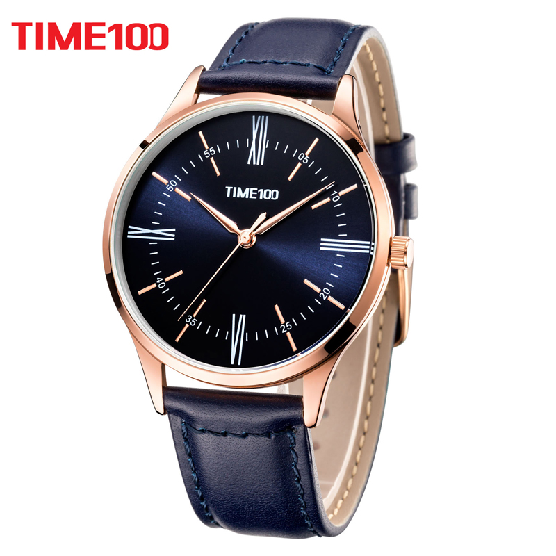 Time100 Men Watches Ultra thin black Quartz Watch Business Casual waterproof Wrist Watch For Men XFCS relogios masculino