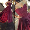 2016 New Dark red Ball Gown Long Prom Dresses Lace Appliqued Formal Gowns Custom-made Floor-Length Prom Gowns